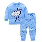2pcs/set Children Boys Girls Soft Cotton Home Wear Set Tops + Pants bule rain drop_80 yards / 55