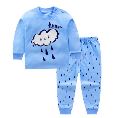 2pcs/set Children Boys Girls Soft Cotton Home Wear Set Tops + Pants bule rain drop_90 yards / 60