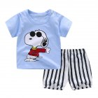 2pcs/set Unisex Children Home Suit Short Sleeve Tops+ Shorts Home Wear Suit puppy_80