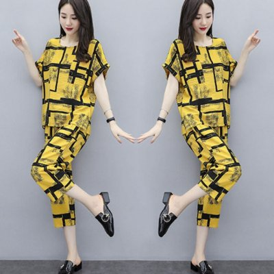 2pcs/set Women Casual Suit short-sleeved Top Long Pants Summer Fashion Wear Ladies Clothing yellow_XL