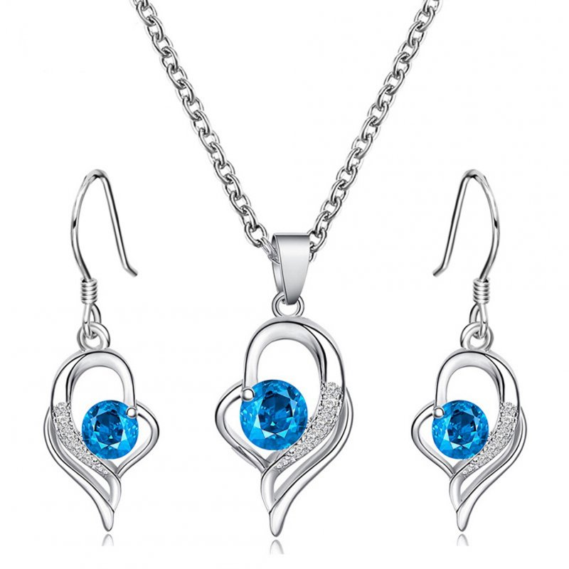 2pcs/set Women's Blue Diamond Love-heart Pendant Necklace +earrings Silver