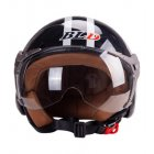 3 4 Helmet Motorcycle Scooter Helmet 3 4 Open Face Halmet Motocross Vintage Helmet Bright black One size 56 60cm