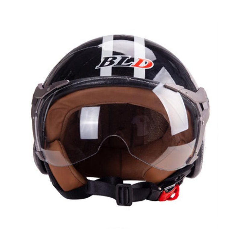 3/4 Helmet Motorcycle Scooter Helmet 3/4 Open Face Halmet Motocross Vintage Helmet Bright black_One size 56-60cm