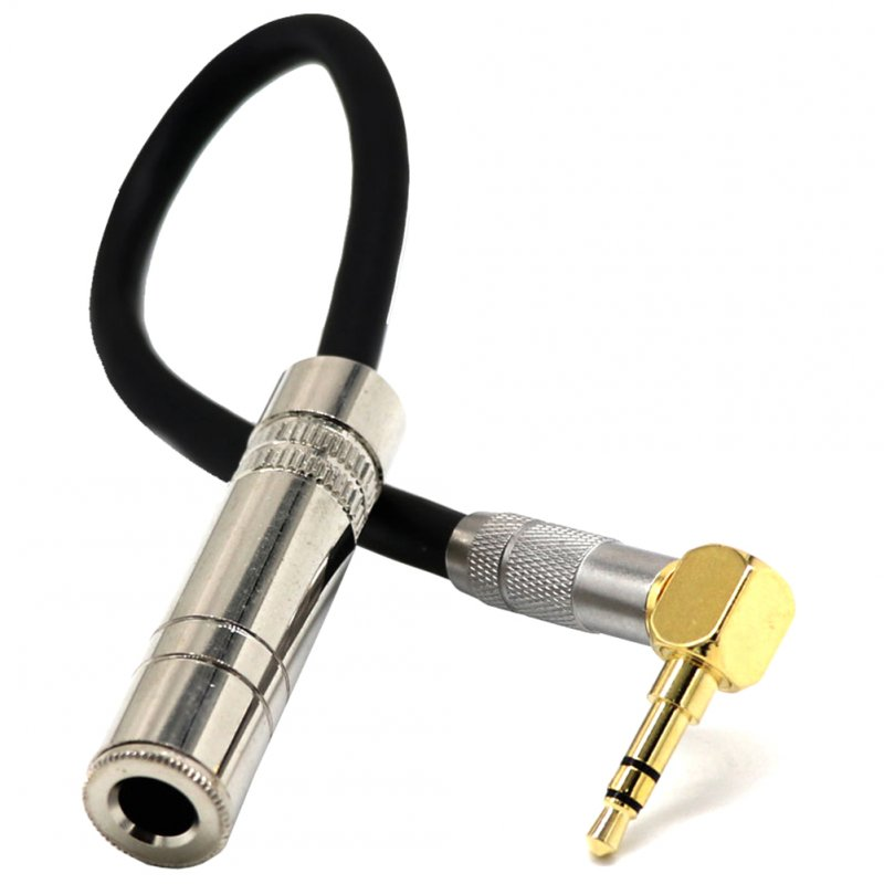 3.5 Male Plug Jack Stereo to 6.35 Female Stereo Extension Cable Angled Audio Line cable As shown