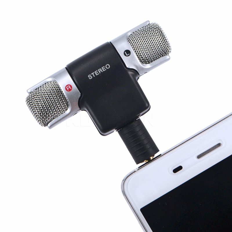 3.5mm Audio Stereo Micrphone Mini Mic Stereo Voice Recorder For Recording Mobile Phone Studio Interview Microphone black