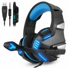 3.5mm Gaming Headset MIC LED Headphones Stereo for PC PS4 Slim Pro Xbox one X S blue