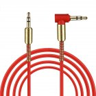 3.5mm Jack Audio Cable TPE Male to Male 90° Aux Cable 1m/3.28 inch red