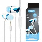 3.5mm Stereo Wired Headset Build-in Microphone Earphone for MP3 MP4 PC Mobile Phone blue