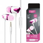 3.5mm Stereo Wired Headset Build-in Microphone Earphone for MP3 MP4 PC Mobile Phone Rose Red