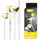 3.5mm Stereo Wired Headset Build-in Microphone Earphone for MP3 MP4 PC Mobile Phone Golden
