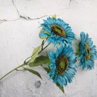3 Heads Sunflower Artificial Flowers Bouquet Home Wedding Decor DIY Crafts blue_63cm