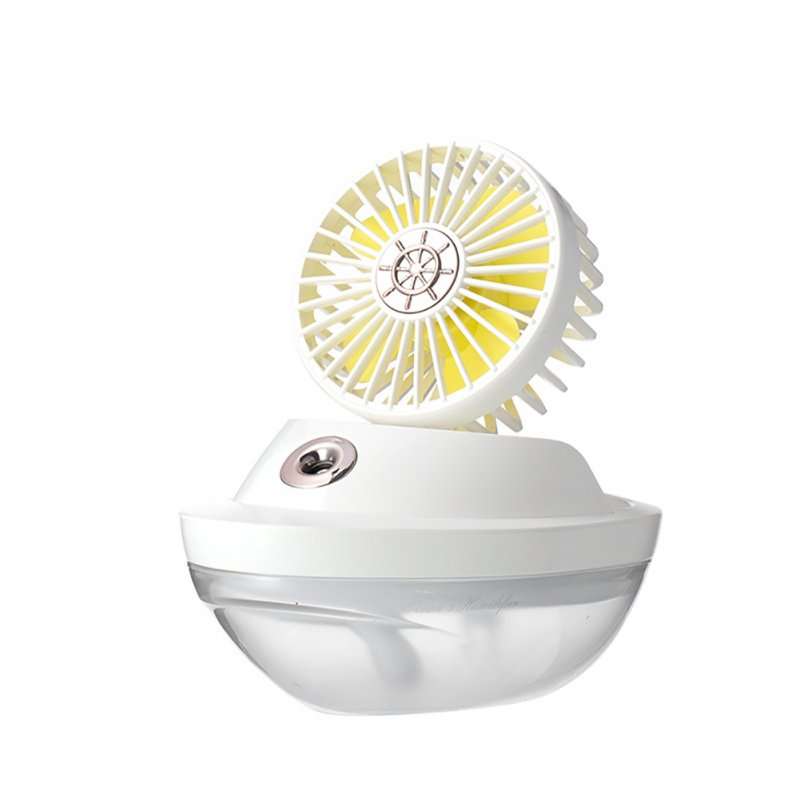 3 In 1 Air Humidifier with LED Night Light and Mini Fan USB Rechargeable Desktop Mini Fan white_190 * 110 * 90mm