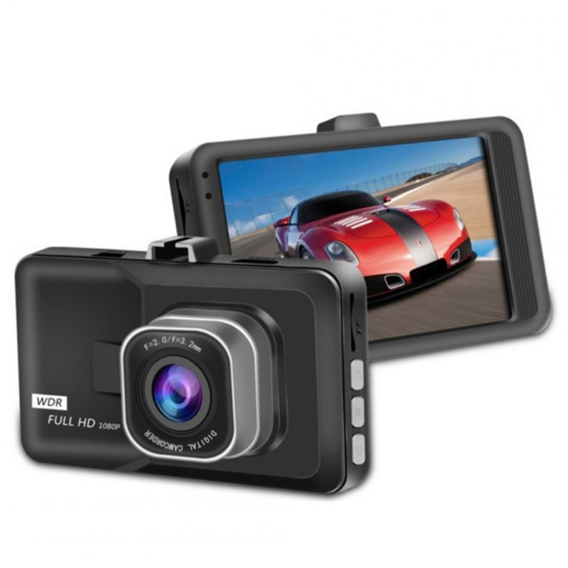3 Inch 1080p Large-size Screen Monitors Car Driving Recorder Dashcam Infrared Night Vision Double Record Single lens ordinary definition