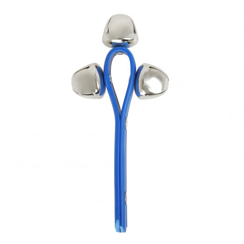 3 Jingle Hand Bells Shaker Rattles Musical Instrument Tambourine Toys Gift blue
