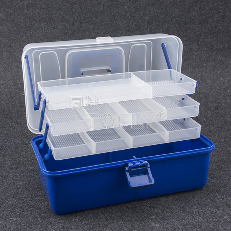 3 Layer 30*18*14CM Large Fishing Box Plastic Multifunctional Fishing Tackle Box Fishing Tool Case Four-tiered Large
