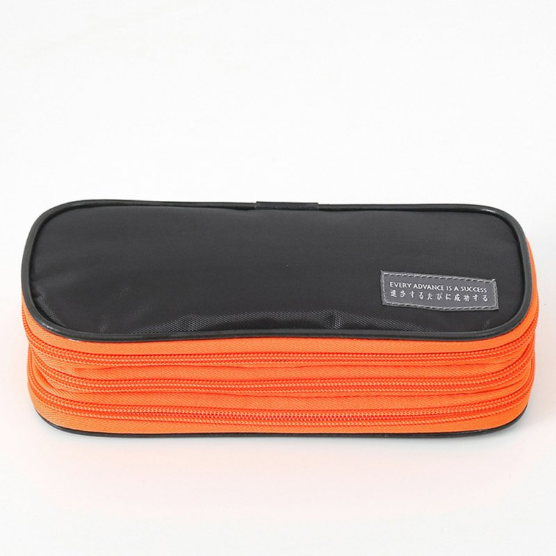 3-Layer Pencil Case Big Capacity Waterproof Zipper Pen Bag Pouch School Stationery Supply Carbon black