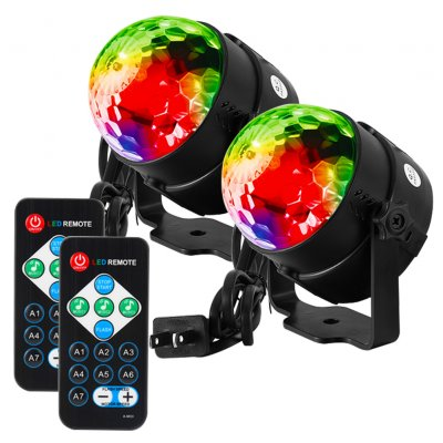 innovative design 98007 e6892 LITAKE LED Sound Crystal Magic Ball Stage Party Light 2PCS 7 Colors US  Plug-Black