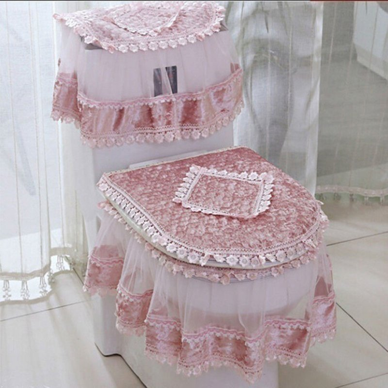 3 PCS Flannel Cashmere Lace Printed Home Decoration Water Tank Cover+Toilet Cover Seat+Toilet Seat Pink_Three-piece suit
