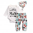3 PCS Unisex Baby Clothes Set, Kids Printing Cotton Long Sleeve Top Pants and Hat Set