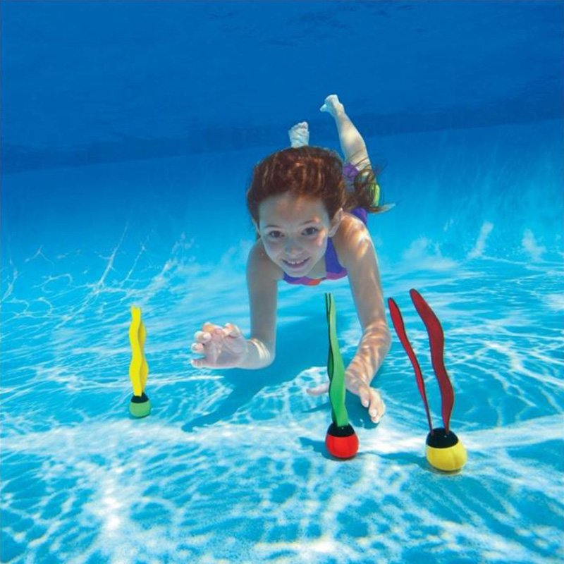 3 Pcs Underwater Grab Dive Seaweed Swimming Pool Water Diving Toy Outdoor Sport Swim Toys for Kids 3 color suit