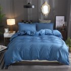 3  Pcs/set Bedding  Article Polyester Fiber Cotton And Linen Solid Color Duvet  Cover+  Pillow  Cover