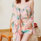 3 Pcs/set Women Swimsuit Sexy Slimming Floral Printin Bikini Top+ Shorts + Overall pink_m suitable for 47.5-52.5 kg