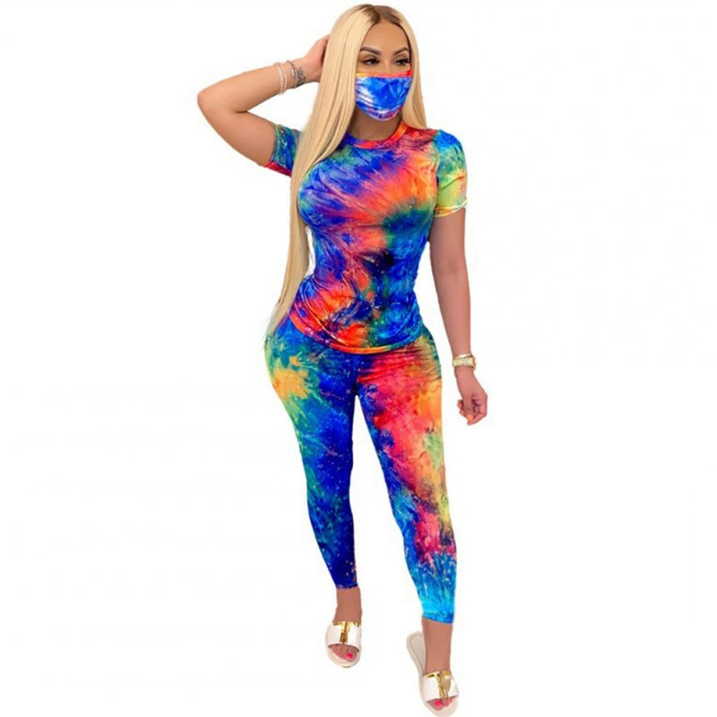 3 Pcs/set Women's Suit Tie-dye Crew-neck Casual Home Sports Suit Top+shorts+ Mask Blue red_XL