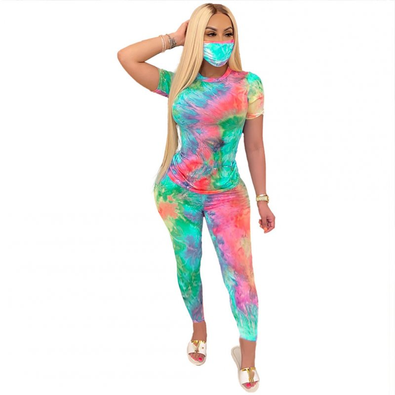 3 Pcs/set Women's Suit Tie-dye Crew-neck Casual Home Sports Suit Top+shorts+ Mask Green red_L