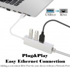 3 Ports USB 3.0 Gigabit Ethernet Lan RJ45 Network Adapter Hub to 1000Mbps Mac PC Silver