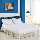 3 Sided Elastic Princess Style Lace Wrapped Drop Bed Skirt Decoration Beige
