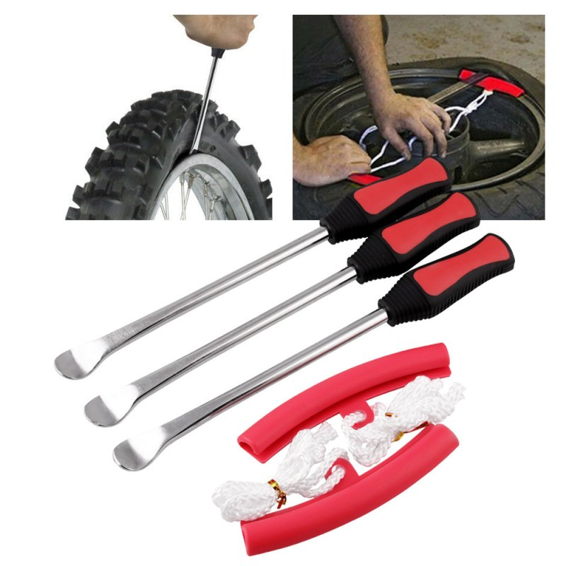 3 Tire Lever Tool Spoon + 2 Wheel Rim Protectors Tool Kit for Motorcycle Bike Tire Changing 3pcs/set