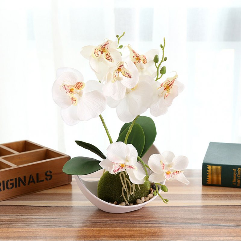3-branch Simulate Butterfly Orchid with Flowerpot Potted Artificial Plant Home Garden Office Decoration white