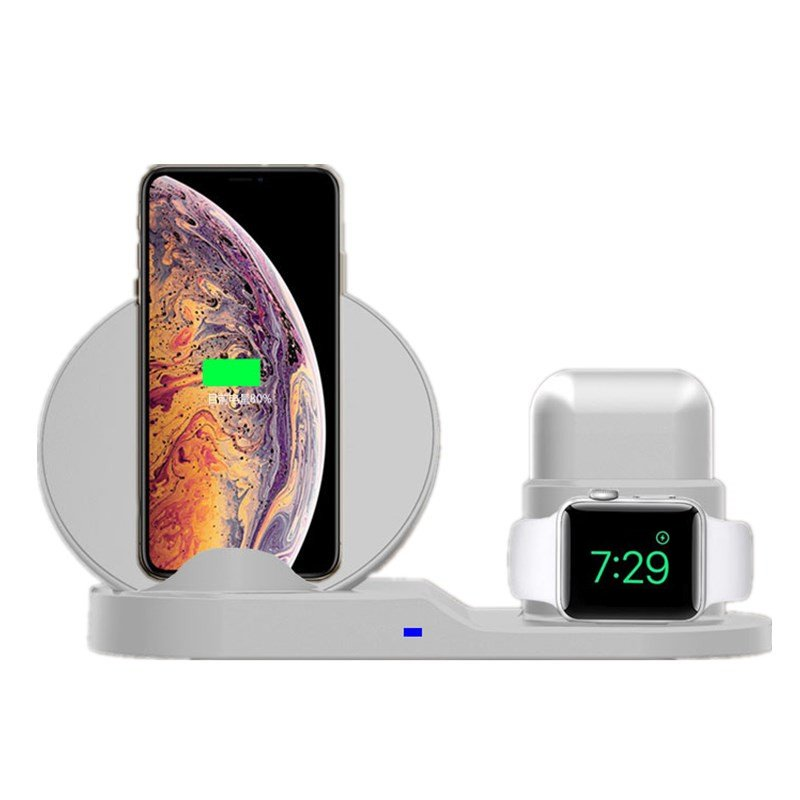 3 in 1 10W Fast Wireless Charger Dock white