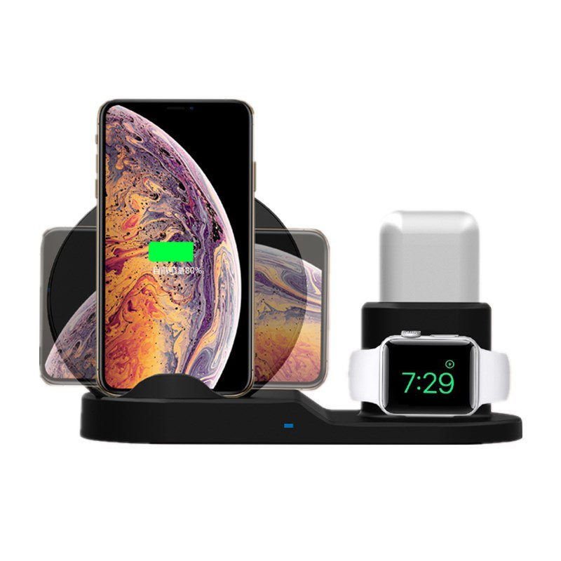 3 in 1 10W Fast Wireless Charger Dock black