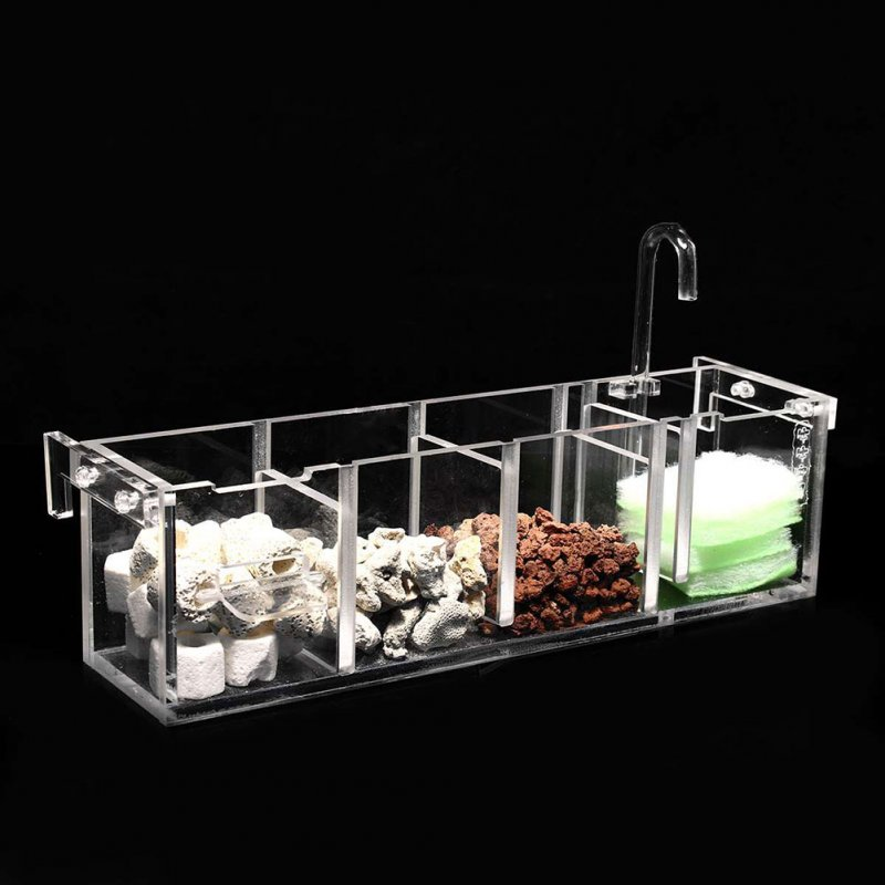 3 in 1 Acrylic Filter Box External Hanging Water Purifier for Aquarium Fish Bowl