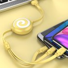 3 in 1 Data Line Retractable USB Portable 3A Fast Charging Cord Type C Data Line yellow