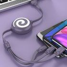 3 in 1 Data Line Retractable USB Portable 3A Fast Charging Cord Type C Data Line purple
