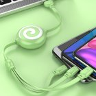 3 in 1 Data Line Retractable USB Portable 3A Fast Charging Cord Type C Data Line green