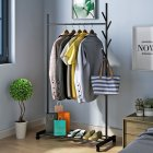 3 in 1 Drying Rack Multifunction Clothes Hanger Coat Rack for Clothing Hat Storage 86.5*42.5*163cm black