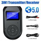 3-in-1 LCD Bluetooth 5.0 AUX Transmitter and Receiver USB Adapter black