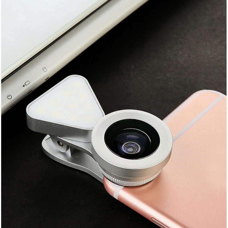 3 in 1 LED Selfie Flash Light Beauty Phone Lens Fill Light 0.4-0.6X Wide Angle 10X Macro Lens Silver