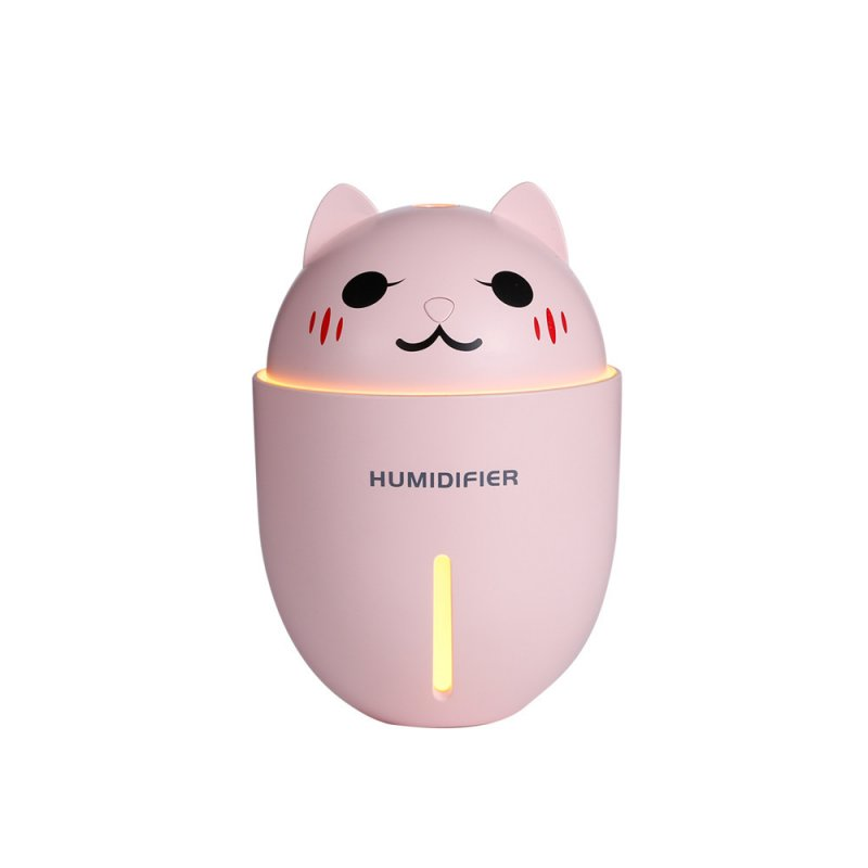 3 in 1 Multifunction USB Dekstop Diffuser Cartoon Cat Air Humidifier with Fan Table Lamp Pink_134.8 * 93 * 93mm