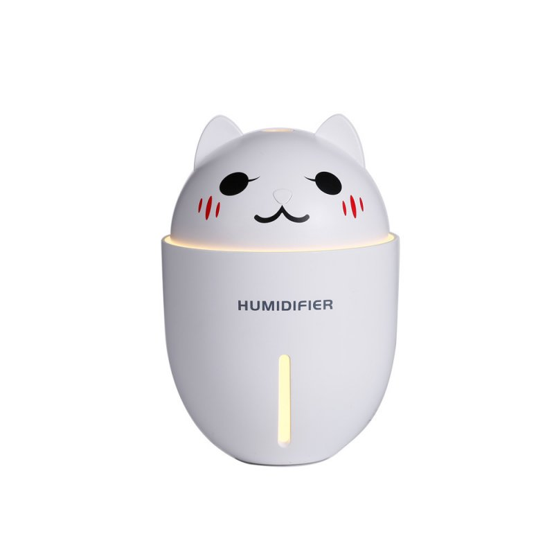 3 in 1 Multifunction USB Dekstop Diffuser Cartoon Cat Air Humidifier with Fan Table Lamp white_134.8 * 93 * 93mm