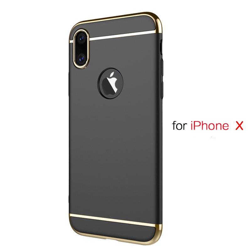 3 in 1 Stitching Stylish Shockproof Ultra Thin Electroplating Non-slip Anti-scratch Protective Case for iPhone X
