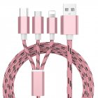 3 in 1 USB Fast Charging Cable Rose gold