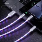 3-in-1 USB to Micro USB Type-C Lighting 2A LED Fast Charging Data Cable Adapter for Mobile Phones colorful