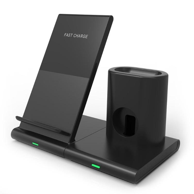 3-in-1 Wireless Charger 10W Fast Charging Magnetic Phone Holder Stand for iPhone Huawei Andriod black