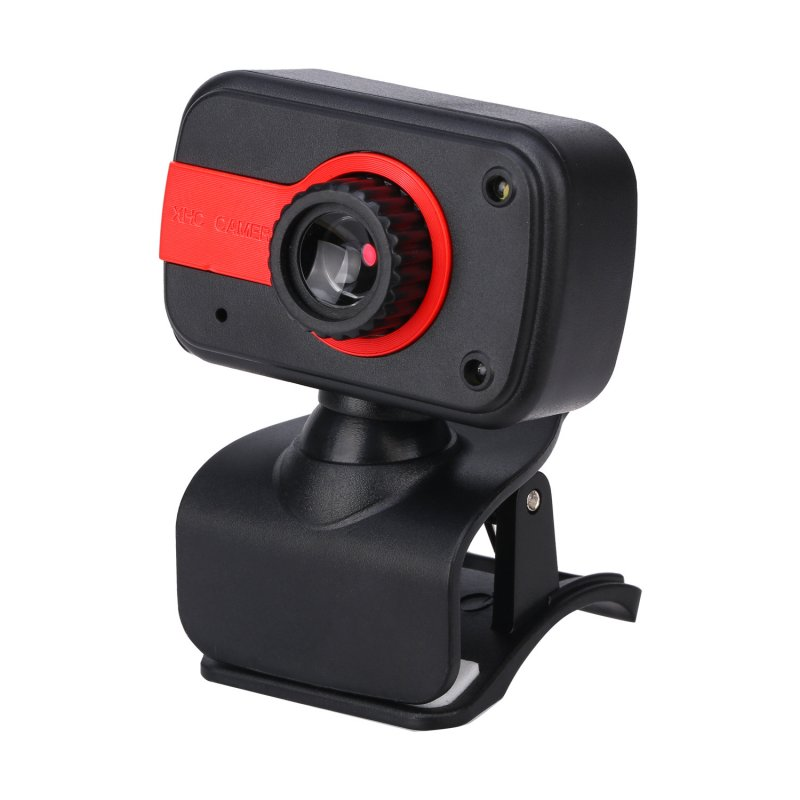 30 Degrees Adjustable Webcam USB Camera Video Recording Web Camera with Microphone Black red