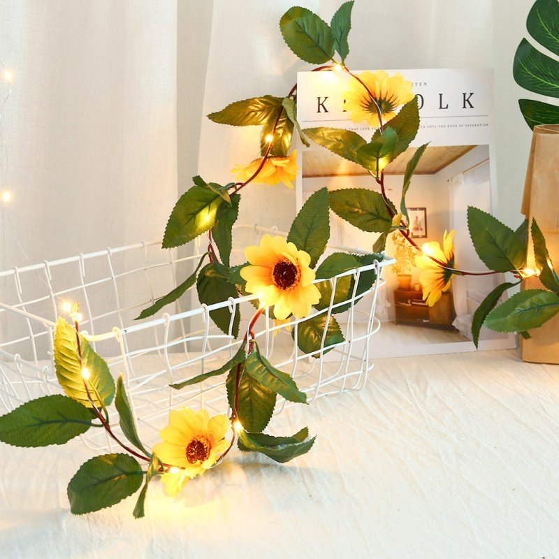30 LED Battery Powered Sunflower String Lights for Wedding Party Decoration Simulation Sunflower Light String Warm White Home Decor Warm White