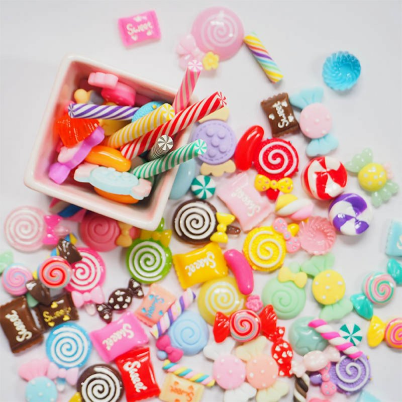 30 Pcs/Bag Resin Candy Lollipop Shape Decor for Diy Crafts Decorative Accessaries random